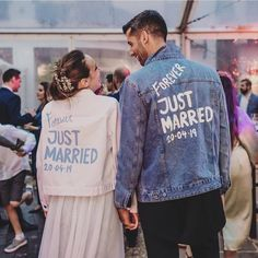 Trendy Just Married denim jackets for bride and groom Cute Wedding Ideas, Wedding Goals, Perfect Wedding, Dream Wedding, Wedding Day, Wedding Inspiration, Wedding Season, Wedding Engagement, Wedding Dress Gallery