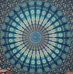 Mandala Tapestry Blue Peacock Tapestries Wall by ChrisOmStar Wall Sheets, Double Bed Sheets, Mandala Tapestry, Hippie Art, Angel Art, Peacock Blue, Tapestry Wall Hanging, Mandala Design, Dorm Decorations