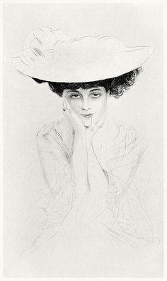 Anna de Noailles.    Paul Helleu, from Paul Helleu, peintre et graveur (Paul Helleu, painter and engraver), by Robert de Montesquiou, Paris 1913.