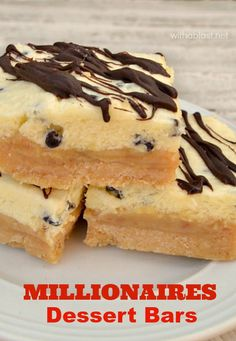 Layers of delight in these Millionaires DESSERT Bars - Shortbread, gooey Caramel and smooth, creamy White Chocolate Mousse {a restaurant copycat recipe!}