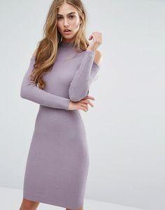 Изображение 1 из Облегающее платье в рубчик с вырезами на плечах Miss Selfridge