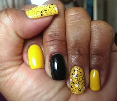 NOTD: Bumble Bee Themed Nails!!!   Sinful Colors Pull Over, Black on Black, NYC Midtown Mimosa #153, with Maybelline Clearly Spotted.  Of course, my trusty My Lacquer Super Base Bonder sold exclusively at Ocean Nail Supply in Gardena, CA