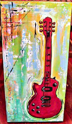 Electric Guitar painting original OOAK 10 x 20 inch by AdoraArt, $48.00