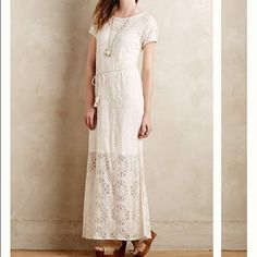 Anthropologie Lilka Bellflower Lace Dress Size S Great maxi dress for wedding shower or spring. Perfect with a denim jacket. I wore it just once for my shower. Anthropologie Dresses Maxi
