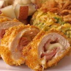 Cordon Bleu Chicken Rolls http://allrecipes.com/recipe/cordon-bleu-chicken-rolls/
