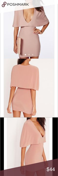 Missguided Dusty Rose Deep V-Neck Cape Dress Brand new without tags in perfect condition. Missguided Dresses Mini