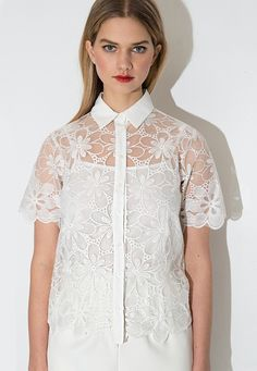 White Short Sleeve Lace Pattern Thin Blouse - Lalalilo.com Shopping - The Best Deals on Blouses