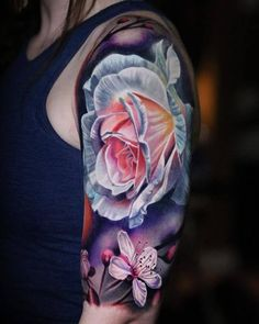 Bright & bold colorwork in this flower half sleeve bright flower tattoos, colorful sleeve tattoos Rose Tattoos For Men, Girl Arm Tattoos, Girly Tattoos, Pretty Tattoos, Sexy Tattoos, Cute Tattoos, Beautiful Tattoos, Flower Tattoos, Body Art Tattoos