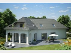 Favorit 416 - Einfamilienhaus von Hanlo Haus - eine Marke der Green Building Deutschland GmbH | HausXXL Style At Home, Villa, Kit Homes, House Plans, Bungalows, Mansions, House Styles, Inspiration, German