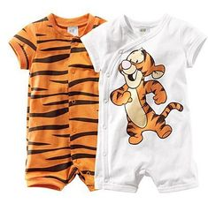 free drop shipping baby short sleeve cartoon tiger romper infant rompers boy's girl's Wear Stripes baby Romper baby clothes