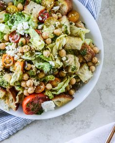 marinated chickpea panzanella with chimichurri*** so yummy. Marinated chicken in chickpea marinade and grilled. Chimichurri, Bread Salad, Vegetarian Recipes, Healthy Recipes, Pasta Salad Recipes, How Sweet Eats, Tortellini, Soup And Salad, Couscous