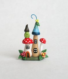 Miniature  Fairy Whimsy & Toadstool House  OOAK by ArtisticSpirit