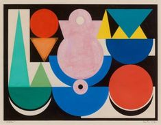 Auguste HERBIN (1882-1960) L'oiseau, 1946 Gouache sur papier. The L'oiseau or the Bird is typical of his late work. Within its inner frame the painting is divided into four clearly demarcated zones. Each quarter of the painting is clearly structured and contains triangles, circles, semi-circles and squares in a few clear colors. These elements rarely overlap. Their composition hardly implies any spatial feeling – instead the shapes remain strongly bound to the surface.