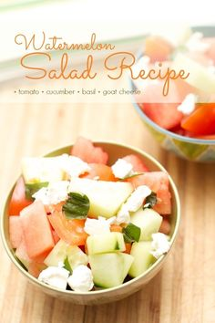 Recipe for Watermelon Cucumber Goat Cheese Salad | Spaceships and Laser Beams