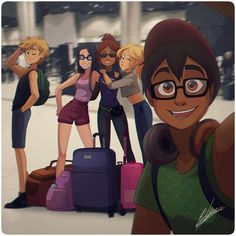 It's the 5 guys burgers & fries miraculous crew! Where do you think they're traveling? Anime Miraculous Ladybug, Miraculous Ladybug Fanfiction, Miraculous Characters, Ladybug And Cat Noir, Meraculous Ladybug, Ladybug Comics, Ladybug Cakes, Tikki Y Plagg, Film Manga