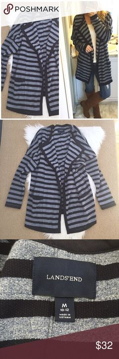"Lands' End Striped Kimono Jacket Love!!! A mid-weight french terry knit cardigan with pockets!! Open style longer length kimono is slightly oversized, drape neck. A classical nautical striped in navy blue and heathered blue. So comfortable! ▪️Size Medium (women's 10/12) I'm a Small for try on reference. ▪️approx 23"" flat across back and 29.5"" length at back (front panels are longer.) In excellent condition! BIN006 Lands' End Sweaters Cardigans"