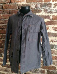 Vintage FRENCH WORK JACKET Workwear Chore Denim Workers Bleu de travail Hobo L
