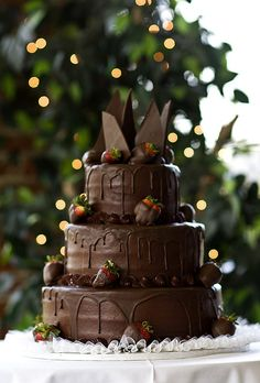 As a big chocolate lover and simply a person who has a sweet tooth, I think a chocolate wedding cake is the best idea ever. A cake made from chocolate Chocolate Grooms Cake, Decadent Chocolate, Love Chocolate, Chocolate Wedding Cakes, Chocolate Drizzle, Chocolate Heaven, Chocolate Covered, Pretty Cakes, Beautiful Cakes