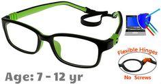 98f02dbfdb Kids Glasses G7009C13 Black Green  Fully Flexible Hinges with No Screws  Blue Block