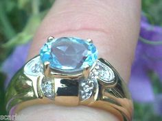 10k Ring With 1.62ctw Diamonds and Topaz Size L1/2  RRP £520