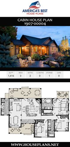 Cabin house plan gives you 3 bedrooms, 2 bathrooms, and an open floor plan. Explore Plan on our website. Bungalow Floor Plans, Log Home Floor Plans, Cabin House Plans, Best House Plans, Dream House Plans, Cabin Design, Modern House Design, Palm Beach, Espace Design
