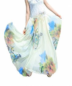 Long Chiffon Skirt, Flowy Skirt, Amazon Dresses, Tube Top Dress, Summer Skirts, Long Skirts, Women's Skirts, Beach Skirt, Floral Print Skirt