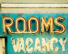 Housewarming gift photography motel sign vintage sign photo peeling paint pumpkin aqua turquoise guest room decor roadtrip - Rooms 8x10. $30.00, via Etsy.