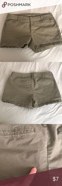 Pixie Shorts Olive colored shorts that were worn for two months. slight imperfection pointed out in last photo (I think its a detergent spot honestly). Price reflects the imperfection. Old Navy Shorts