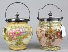 (Lot of Carltonware biscuit jars, early Century, each porcelain body with floral detail, and silverplate lids. on Feb 2016 Tea And Crumpets, Vintage Cookies, Biscuit Cookies, Vintage Dishes, Antique Glass, Cookie Jars, Afternoon Tea, Bone China, Tea Time