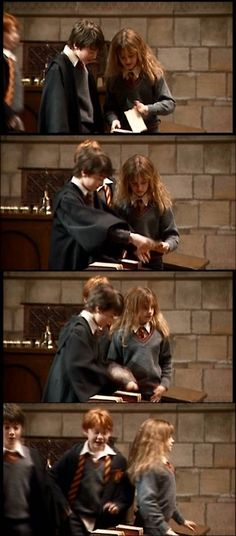 behind the scenes: Daniel Radcliffe and Emma Watson accidentally ripped a page from a book (it was a prop) then pretended that nothing happened as Rupert arrives. Oh they are adorable :))
