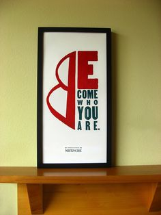 Nietzsche Letterpress Print: Become Who You Are, Red and Black, Wood and Metal Type, and Block Print, Wall Decor, Wall Art    Nietzsches ideas are