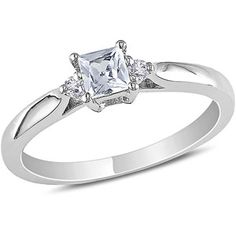Miabella 1/3 Carat T.G.W. Princess-Cut Created White Sapphire and Diamond Accent Sterling Silver Promise Ring