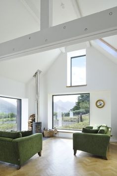 Vault over living and dining area - Leachachan Barn - Rural Design Architects - Isle of Skye and the Highlands and Islands of Scotland Larch Cladding, Stone Barns, Modern Barn, Window Design, Prefab, Architecture, Building A House, Building Homes, New Homes