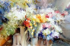 Tuscany Flower Market - Watercolor by Fabio Cembranelli