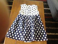 Size 3 - Navy and White Button Through Dress