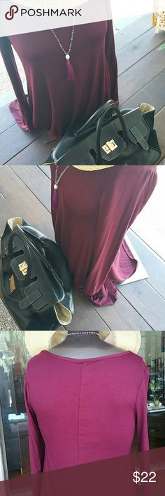Burgundy long sleeve tunic top Can be use also as a cute mini dress,  so many posibilities,  a basic piece this season. Burgundy color, not purple, Tops Tunics
