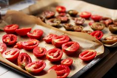 Oven Roasted Tomatoes Tomatoes, either sliced in half (grape, cherry ...