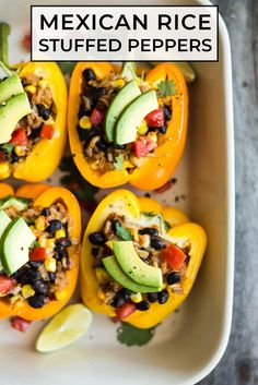 These Mexican rice stuffed peppers make a great vegetarian weeknight meal. Bonus points for being easily customizable to what you have in the fridge and for keeping you full! #mexican #vegetarian #rice #bellpepper #dinner Easy Delicious Recipes, Good Healthy Recipes, Vegetarian Recipes, Yummy Food, Healthy Food, Healthy Dinners, Mexican Food Recipes, Dinner Recipes, Stuffed Peppers With Rice