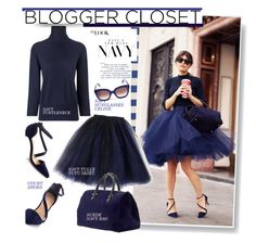 Blogger Style-All Navy: Turtleneck&Tulle tutu skirt by hamaly on Polyvore featuring polyvore, fashion, style, Frame Denim, CÉLINE, Surya, Clare V., topsets and topset