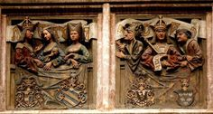 Balcony or loggia with more reliefs on its balustrade.  Maximilian himself appears in the two central panels, once with his two wives, Mary of Burgundy (who died in 1482) and Bianca Maria Sforza (whom he married in 1494), and once with his court jester and, presumably, his chancellor:Herzog-Friedrich-Straße, the famous Goldenes Dachl [Golden Roof] commissioned by none other than emperor Maximilian I. Austria.