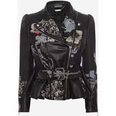 Alexander McQueen Cross Stitch Leather Jacket ($5,205) ❤ liked on Polyvore featuring outerwear, jackets, coats, coats & jackets, giacche, zip jacket, peplum jacket, zipper leather jacket, asymmetrical zipper jacket and genuine leather jacket