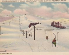Riding Ski Tramway Up Dollar Mountain, Sun Valley, Sawtooth Mountains, Idaho - Vintage Linen Postcard - Unused (P)