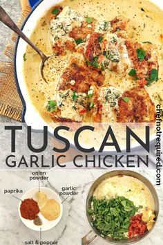 Have you tried creamy garlic tuscan chicken yet? It's an easy keto skillet dinner that the whole family will enjoy. I use chicken thighs so they stay super juicy. Smothered in a parmesan cream sauce, packed with spinach and semi dried tomatoes, this chicken goes super well with pasta, mashed potatoes or just some green vegetables for an awesome low carb creamy dinner recipe. #chefnotrequired #tuscanchicken