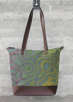 Statement Bag - Tire Tracks in Black/Brown/Green by VIDA Original Artist Tire Tracks, Vida Design, Go Bags, Cowhide Leather, Black And Brown, Print Design, Art Print, Reusable Tote Bags, Fashion Design