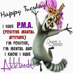 Happy Tuesday! I Have P.M.A. (positive Mental Attitude). Iu0027m Positive, Iu0027m  Mental, And I Know I Have Attitude!