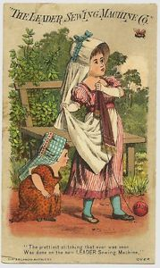 Older Girl Protects Younger from Bee Leader Sewing Machine Victorian Trade Card | eBay