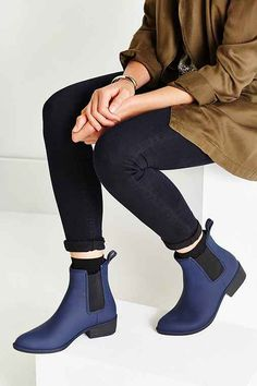 """Jeffrey Campbell Stormy Rain Boot"" $55 sold on Urban Outfitters and other sites. I love the blue version of these rain boots and I like that they are posh and practical for campus. Size 8 to be safe. $55"