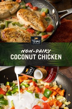 One-pot deliciousness: Coconut Chicken is an easy weeknight meal or casual entertaining dish. It only takes 10 minutes of prep and starts with a can of Thai Kitchen Coconut Milk. Dairy Free Recipes, Paleo Recipes, Asian Recipes, Soup Recipes, Cooking Recipes, Thai Recipes, Recipies, Gluten Free, Turkey Recipes