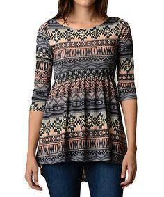 Love this Gray Blue & Cream Tribal Hi-Low Tunic - Women by Good Stuff Apparel on #zulily! #zulilyfinds