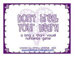 {Free} Don't Break Your Heart! CVC/CVCE Nonsense Game for RTI